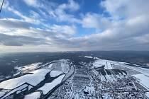 Zimní krajina při letu balonem z Břestku do Milotic. Nad Buchlovicemi.
