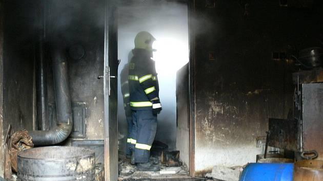 Požár kotelny v Březové.