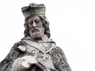 Poškozená socha sv.Jana Nepomuckého z roku 1891.