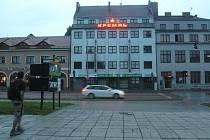 Dům s nápisem Kreml v azbuce a hvězdou v Uherském Hradišti