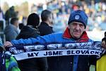 Fotbalisté Slovácka (bílé dresy) ve 23. kole FORTUNA:LIGY přivítali vedoucí Slavii Praha.