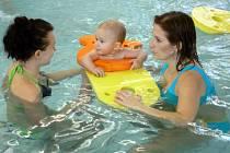 Nejmenší se ráchají ve vodě v doprovodu lektorů a samozřejmě svých rodičů.
