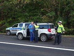 Policejní kontrola mezi Slavkovem a Stráním