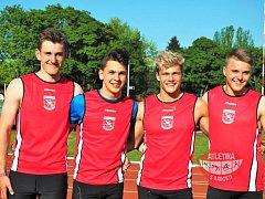 Kvartet Vít Jánoš, Nikolay Romanchenkov, Jan Vácha a Jakub Majerčák (zleva) obsadil na závodech v Olomouci druhou příčku.  x