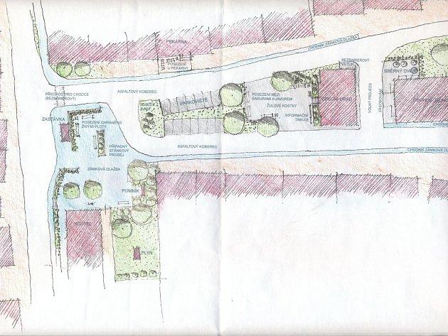 Nová podoba návsi v Topolné má být nejen vzhlednější než ta stávající, ale ve výsledku i bezpečnější pro okolní dopravu.