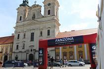 V centru Uherského Hradiště v úterý 16. června vyrostla fanouškovská zóna pro nadcházející fotbalový šampionát.