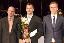 Tři nejlepší jednotlivci ankety o nejlepšího sportovce Uherského Brodu za roky 2014 a 2015 – zleva Dušan Surý, Dalibor Řezníček a Marek David.