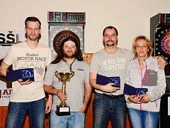 Celkové pořadí jednotlivců Slovácké šikové ligy – zleva: Juřena, Charvát, Duffek, Malotová