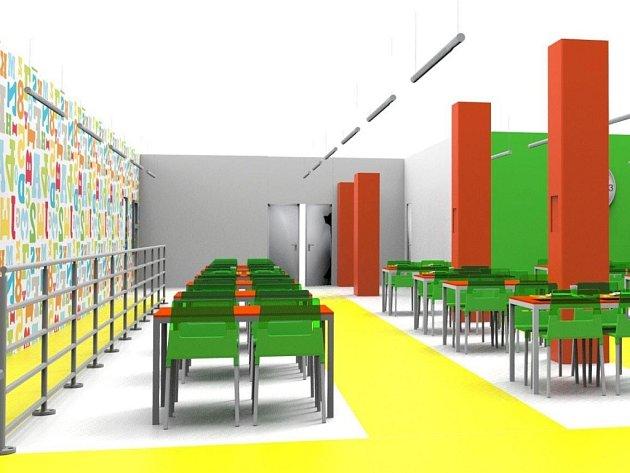 Základní škola v Kunovicích hledá netradiční formou finanční prostředky na opravu své školní jídelny. Vizualizace nové jídelny.