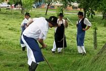 V humně U Krájanky v Babicích muži i ženy ukázali, že séct trávu umějí.