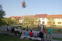 Pondělní večer byl na Dolním konci Hradčovic veselý – stavěl se máj.