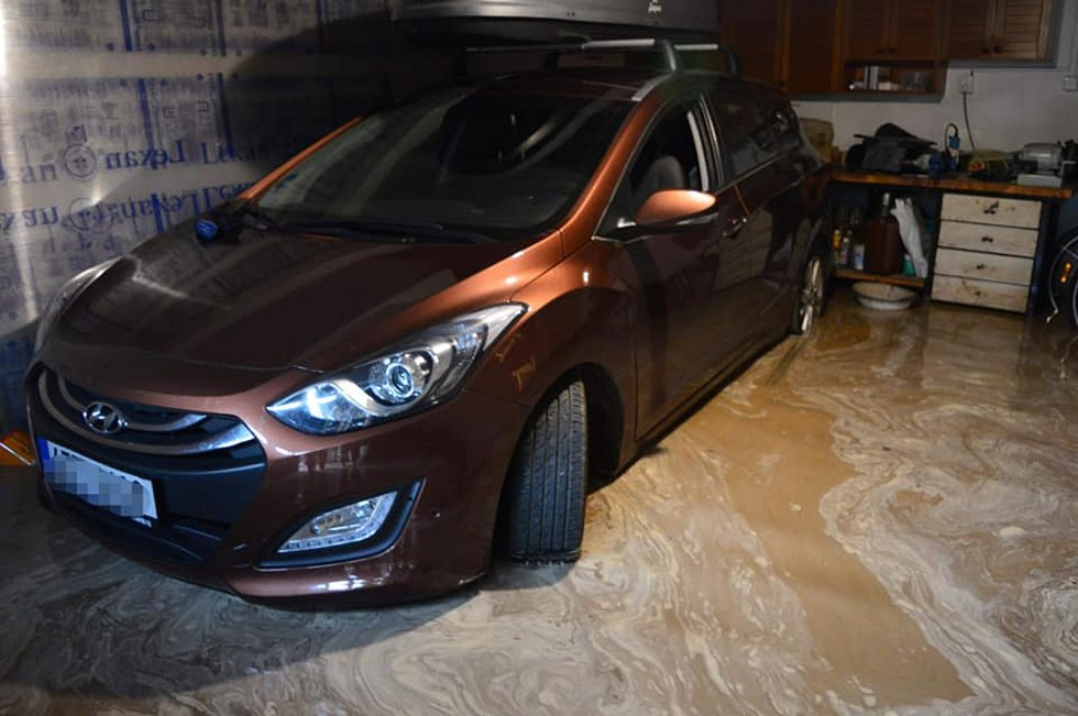 Zaplavený suterén v jednom z Kudlovických domů v pondělí 26. srpna.