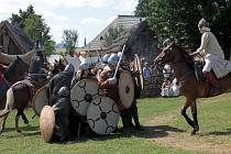 Bitva o Veligrad v Archeoskanzenu Modrá, srpen 2021.