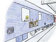 Noc na kolejích. Jedna z ilustrací Janise Mahbouliho v knize Pohádky z nádraží.