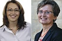 Senátorkou v Praze 10 bude buď místostarostka tamější radnice Ivana Cabrnochová ze Strany zelených (vlevo), nebo lékařka Jana Dušková (za ANO).