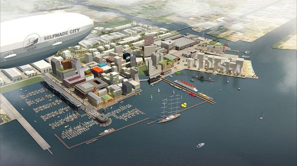 Cie s krajinářskou kanceláří LOLA doplněné o mladý brněnský ateliér m2au se prezentovalo plánem pro revitalizaci amsterdamské přístavní čtvrti NDSM (na snímku) nebo návrhem pro čtvrť Feyenoord City v Amsterdamu se stadionem.