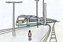 Splněný sen. Jedna z ilustrací Janise Mahbouliho v knize Pohádky z nádraží.