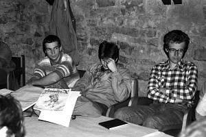 Martin Klíma (vpravo) jako jeden z vůdců studentské stávky v roce 1989.