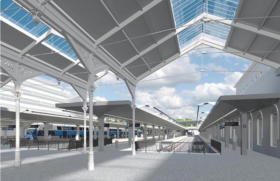 Vizualizace zastřešení nástupišť Masarykova nádraží.