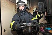 Požár kuchyně v Praze 4.