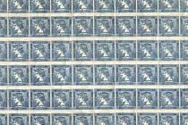Osmdesátiblok modrých Merkurů. Poštovní muzeum jej získalo spolu s dalšími filatelistickými sbírkami převodem z Fondu národní obnovy v březnu roku 1950.