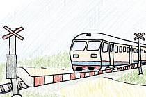 O neposlušné závoře. Jedna z ilustrací Janise Mahbouliho v knize Pohádky z nádraží.