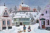 Dětské radovánky v zasněžené vesnici patřily k oblíbeným Ladovým tématům, jako na tomto akvarelu z válečného roku 1944