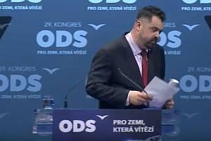 Starosta městské části Praha-Řeporyje Petr Novotný vystoupil na volebním kongresu ODS v O2 universum.