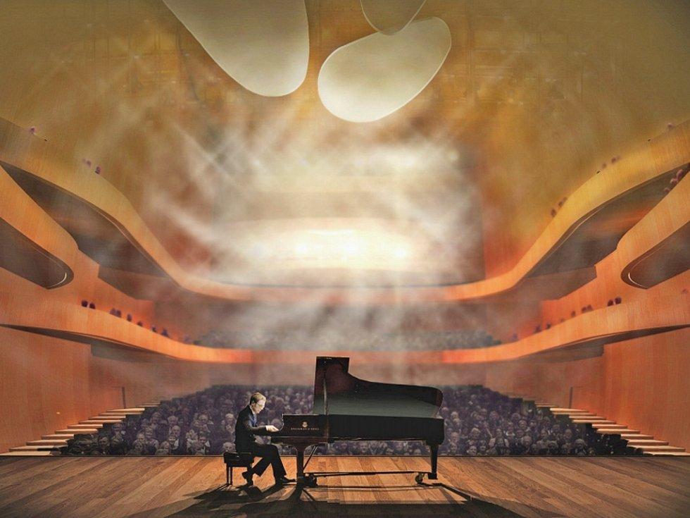 Interiér koncertní síně v očích Barbory Šímové. Budovu situovala do lokality ostrova Štvanice.