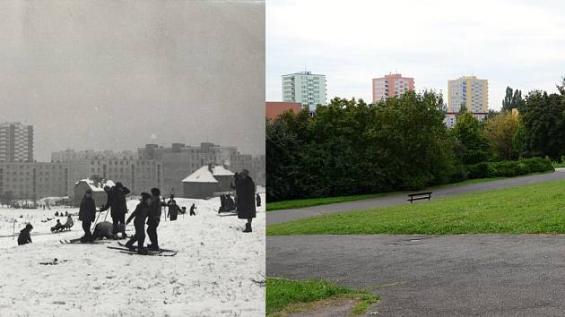 Pohled na sídliště z Malešického parku (1965 - 2011)