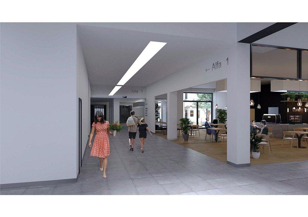 Nově vestavěné atrium v budově Polikliniky Budějovická. Vizualizace.