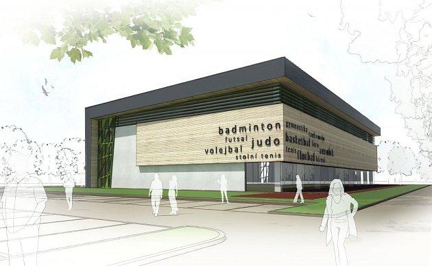 Vizualizace multifunkční sportovní haly, která by měla vyrůst vedle ZŠ Brigádníků ve Strašnicích.