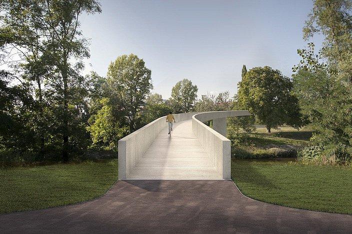 Vítězný návrh na projekt lávky mezi Holešovicemi a Karlínem z dílny autorské dvojice Marek Blank, Petr Tej.