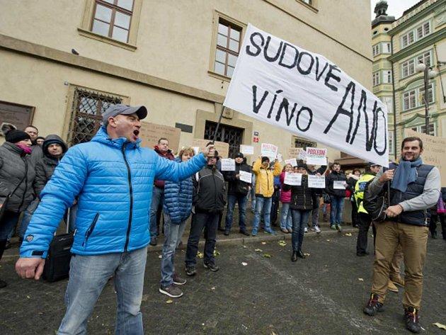Svaz obchodníků s vínem a společnost Korbelus s.r.o., která se zabývá obchodem se sudovým a lahvovým vínem, uspořádali v Praze demonstraci proti novele zákona o vinařství a vinohradnictví.