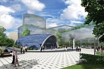 Návrh podoby exteriéru stanice metra trasy D - Nemocnice Krč.