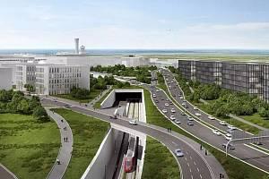 Vizualizace železničního napojení Kladna na ruzyňské letiště.