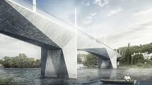 Zamýšlená podoba Dvoreckého mostu v Praze.