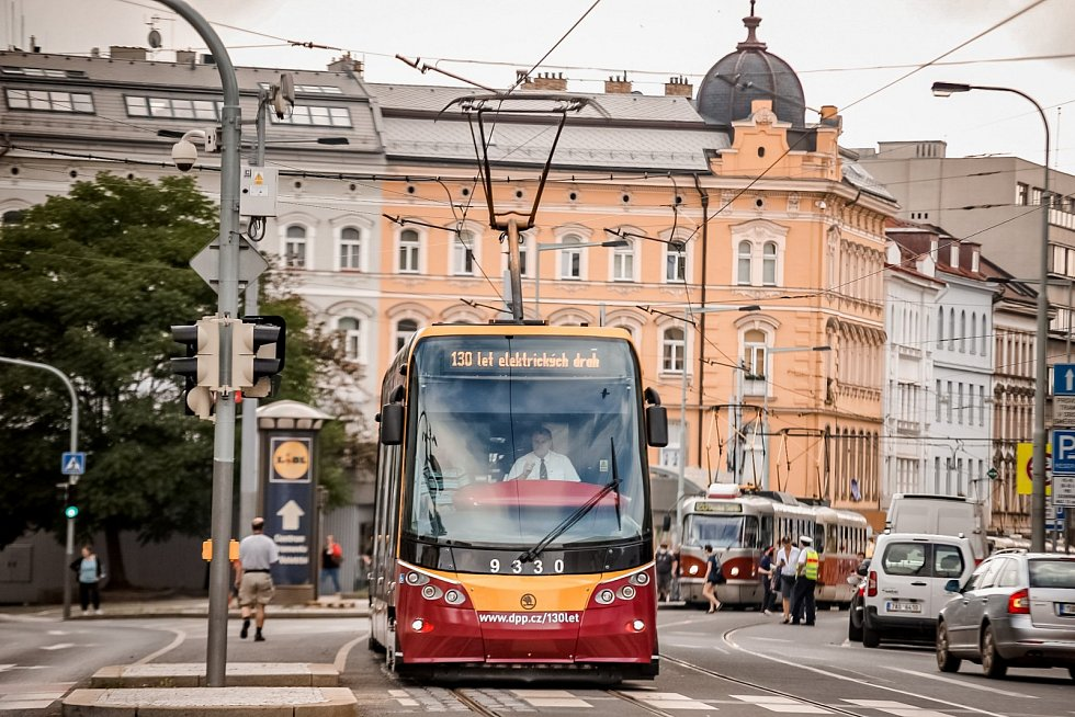 Tramvajový průvod v Praze 18. července 2021.