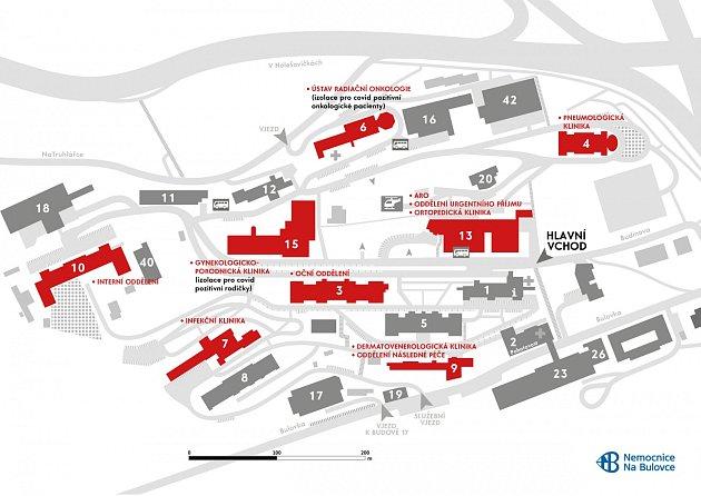Mapa budov Bulovky spacienty scovidem.
