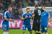 Zápas 3. kola první fotbalové ligy mezi týmy FC Slovan Liberec a AC Sparta Praha se odehrál 13. srpna na stadionu U Nisy v Liberci. Na snímku zleva Vladimír Coufal a Ondřej Kúdela.