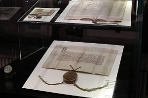 Výstava Insignií Univerzity Karlovy v Karolinu.