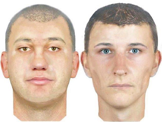 Kreslené portréty pachatelů vytvořené podle výpovědi mužů napadených v Modřanech.