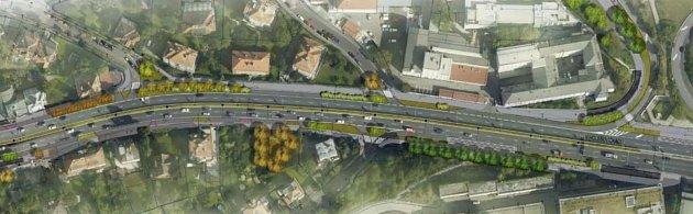 Vizualizace možných úprav ulice VHolešovičkách.