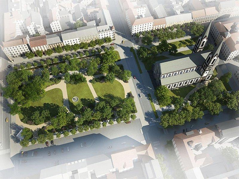 Vizualizace revitalizace Karlínského náměstí v Praze 8.