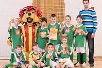 Z finálového turnaje pátého ročníku Dětského fotbalového poháru ve sportovní hale Základní školy Petřiny-jih v Praze.