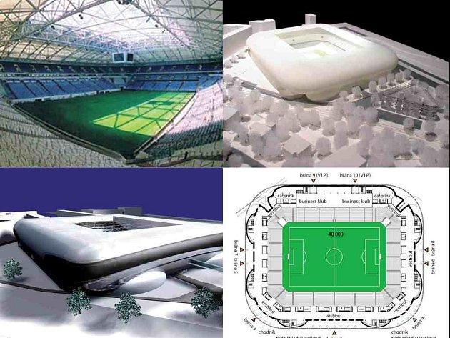 Fotbalový chrám v modelové podobě.