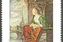 Známka s obrazem Mladá dáma na balkóně