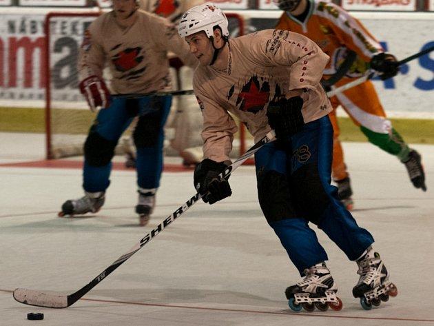 KANONÝR! Na branky Marka Loskota budou slávisté ve čtvrtfinále inline hokejové extraligy hodně spoléhat.