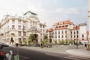 Vizualizace nové podoby Mariánského náměstí v Praze.