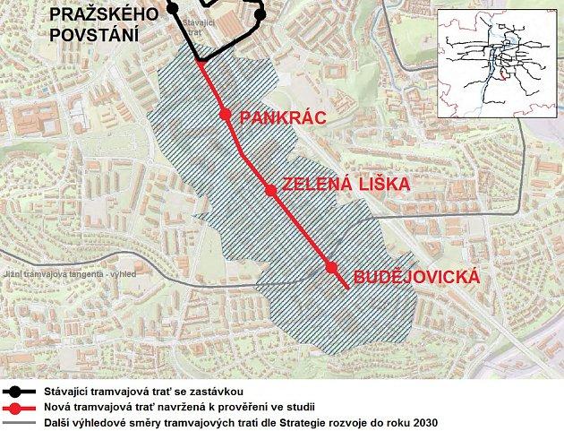 Mapa trasy tramvaje mezi stanicemi metra Pražského povstání a Budějovická.